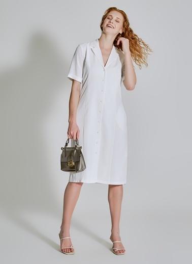 People By Fabrika Cep Detaylı Gömlek Elbise Ekru